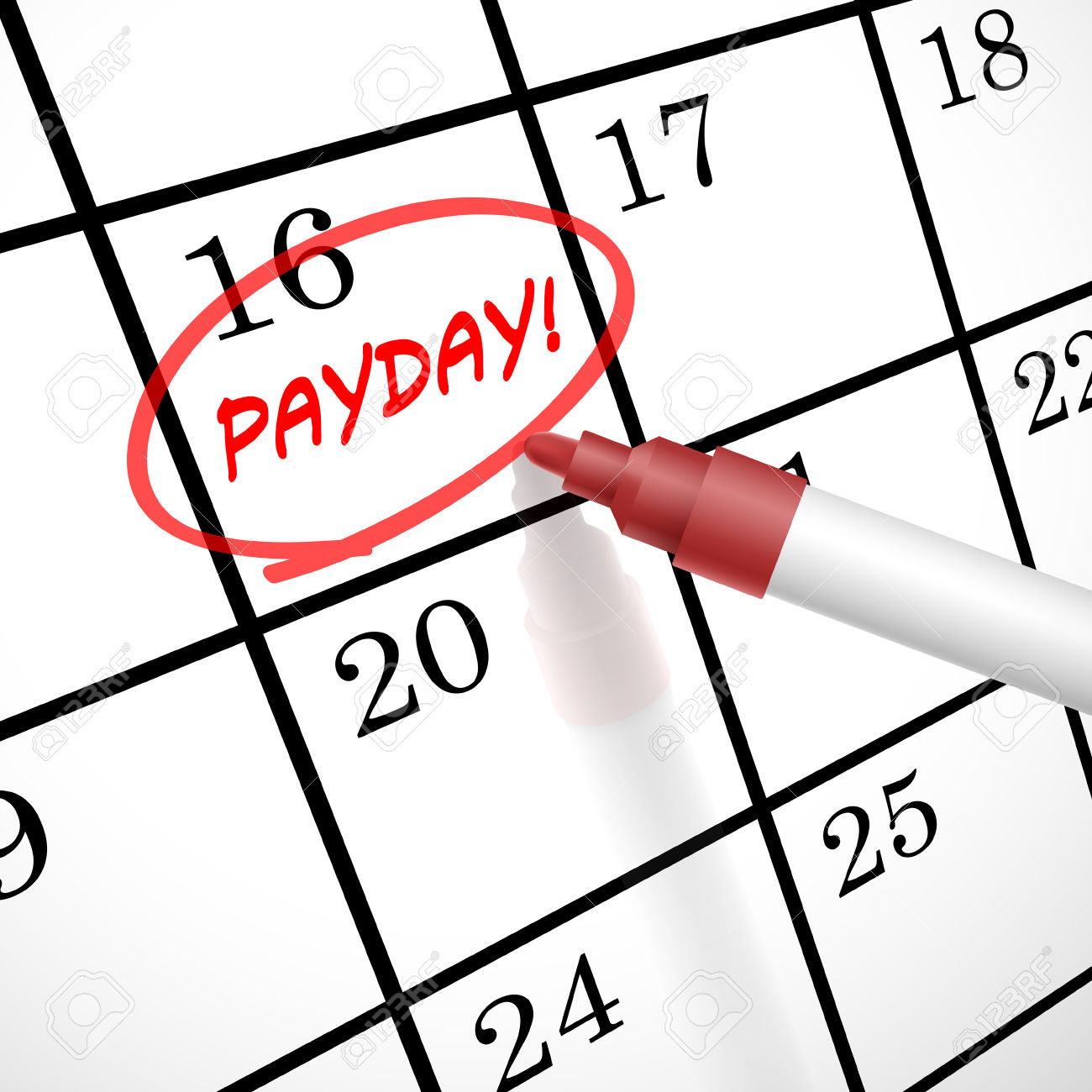 payday word circle marked on a calendar