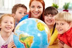 globe with kids